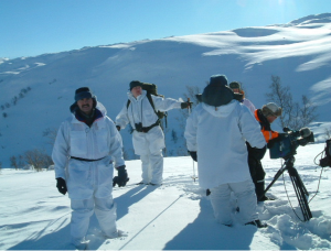 "A shot from the BBC production ""The Real Heroes of Telemark"" shows harsh conditions on the Hardanger plateau and reenacts the survival skills practiced by the Norwegian commandos."