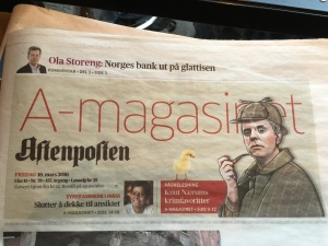 The headline from this year's Easter Week Aftenposten newspaper.