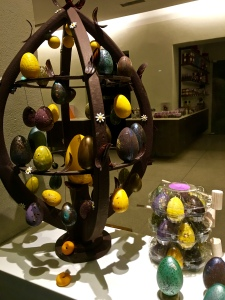 Check out this sugary sculpture ornamented with chocolate-filled eggs.