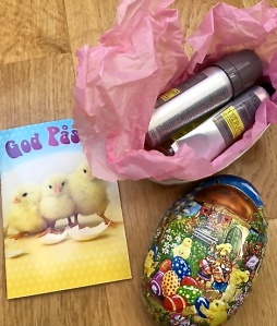 "Pictured is my Easter gift to Matthew, filled with goodies from L'Occitane. By the way, ""God Påske"" is pronounced ""Goo Pos-kay"" (Good Pasque) and is derived from the Hebrew word for Passover."