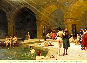 Victorian painters have given us quite a racy perspective on Turkish bathhouses. But in reality, these were simply places where folks went to bathe before going to Friday service in the mosque. Not that different when I was a kid. Mom would pile us all in the tub for our Saturday night bath before Sunday church.