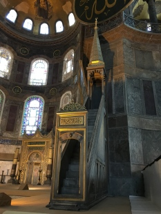 When the Ottomans took over Istanbul in 1453, they converted Hagia Sophia into a mosque by adding minarets, a minbar (a pulpit for the Imam to deliver sermons from), and a mihrab (a prayer niche that marks the direction of Mecca).
