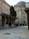 The Mausoleum of Süleyman the Magnificent, also designed by Sinan, sits behind the mosque.