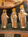 Pictured are the Orthodox Church fathers, St. Basil, St. Gregory, and St. Cyril. These figures look incredibly modern to me, almost like murals by Charles Rennie Mackintosh and his wife Margaret McDonald.