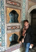 Check out these gilded niches meant to hold the turbans of officials.