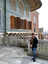 The Fourth Courtyard of the palace is a quiet place that looks out over the Golden Horn and the Bosphorus. The Sultan's Chamber is behind me.