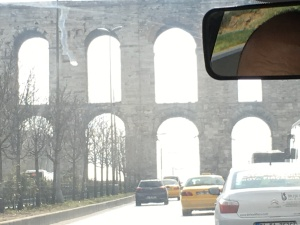 One nice benefit of our crazy ride to the bathhouse: I got a shot of the Valens Aqueduct, built by the Romans during the 4th century A.D.