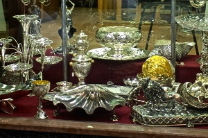 Check out a few of the fabulous works of silver in Arto Usta's window.