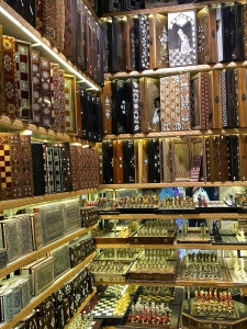 Need an inlaid backgammon, chess, or checker board? Look no farther than the Grand Bazaar.