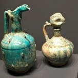 Turquoise Raqqa pottery from the Ayyubid period (1170 - 1462). I'm in love withe fish-headed pitcher.