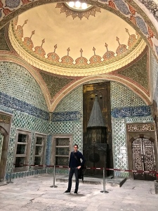 Check out this lavish room, complete with enormous brass fireplace and painted dome, in the Harem of Topkapi.