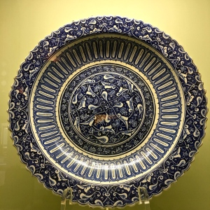 "Dating from 1500, this plate is one of a pair considered the best surviving examples of Iznik tile. (The Turks use the word ""tile"" to mean any kind of ceramics.)"
