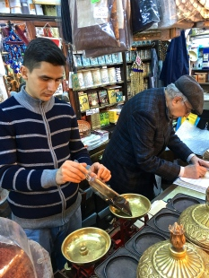 One of our favorite shops, Kalmaz Baharat (Kalmaz Spices), sells historic spices -- which are still measured the traditional way -- as well as antique hamam bowls, soap, and silk towels.