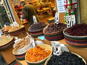 "The food vendors' streets offer a selection of nuts and dried produce, like figs, mangoes, raisins, dates. Turks traditionally shopped on Sunday (""Pazar"" -- the word from which our English word ""bazaar"" is taken.)"