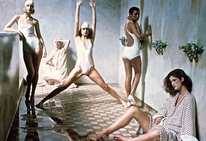 "I'm just picturing myself huddled miserably in the corner while the model ""mean girls"" vogue it up in the bathhouse. Photographed by Deborah Turbeville, Vogue, 1975"