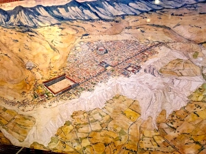 A rendering of Hieropolis gives you an idea of its size, spread out atop the Pamukkale hot-springs formation. You can see the big theater in the center and the square Agora (marketplace) on the left. But seeing this stuff on a drawing, and then finding it hidden in the grass and spread out over a mile of ruins is another matter entirely.