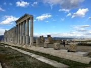 Nineteen columns of a portico for the Temple to Apollo, Artemis, and Aphrodite have been re-erected here.