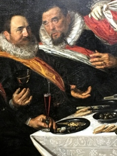 Check out the impressionistic, almost sloppy brushwork on the ruffs, neckcloths, and sashes of these men. If it weren't for Hals' ability to capture their rather drink-addled and dissipated expressions, we might think he'd joined them in several toasts while painting their portrait. (Hals was himself a member of the Guards.)
