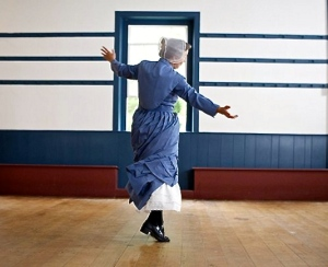 Volunteers still recreate Shaker customs and dances today at Pleasant Hill. Notice how much the position of this dancer's hands resemble that of Dervishes.