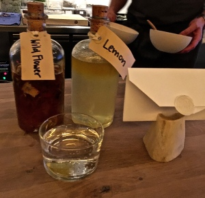 Check out the wax-sealed menu and the bottles of homemade syrups used to create the deconstructed sorbets that whetted our appetites for our first course.