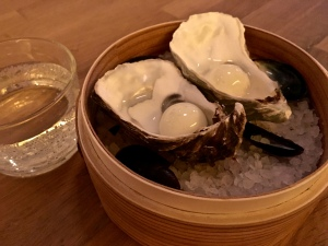 The Japanese theme continued with gin-and-tonic sorbet masquerading as oyster pearls.