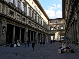 "Commissioned by Cosimo de Medici in 1560, the Uffizi (""offices"") housed Florence's magistrates as well as the Medici family art collections. The last Medici heiress left instructions for it to be turned into a museum upon her death.."
