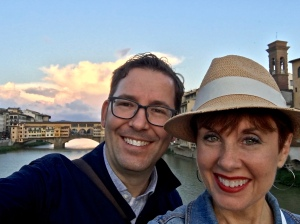 Sunset selfie in front of the Ponte Vecchio.