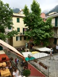 The main square of Corniglia. I'm perched at one of the outdoor tables (chick with the hat, bottom left) of La Laterna. Try their delicious pansotti, a ravioli with walnut sauce -- to die for!