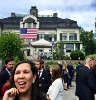 Behind our colleague (Hi, Sachy!) is Villa Otium -- the U.S. Ambassador's Residence in Norway. Check out my post from last year for more about its somewhat controversial history.