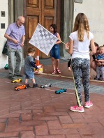 On a Sunday morning, one creative entrepreneur had set up a mini race-car track next to the historic Hospital of Innocents. We sat there for half an hour watching kids and parents play the old fashioned way, no video screens involved.