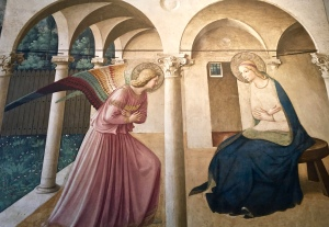 "Probably one of Fra Angelico's most famous paintings, ""The Annunciation"" shows why he's considered a transitional artist from Gothic to Renaissance. Rather than his figures floating in the scene with no spatial awareness, they're anchored in their surroundings, which have been rendered in perspective with a foreground, middle ground, and background."