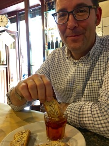 "Matthew spends a few moments soaking in Florence's mellow vibe ... and marinating his ""cantucci"" (crunchy almond cookies) in his ""vin santo"" (holy wine). It's a Florentine after-dinner custom."