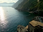 A stair-stepped coastline wreathed in clouds is standard fare from any vantage point along the Cinque Terre.