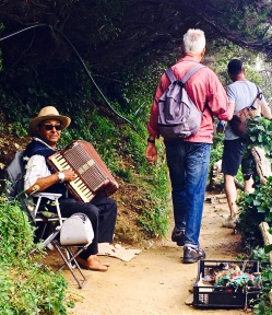 It can't have been easy to tote an accordion along the steep trail.