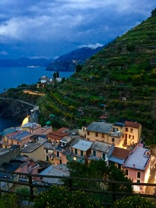 From the hilltop above Manarola, you can see three other Cinque Terre towns.