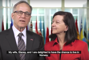 Ambassador Heins and his wife attempt to introduce themselves in Norwegian during a cute video posted on the embassy website. Kudos to them for at least trying the language -- those vowel sounds aren't easy!  (Click on the pic to view the video.)