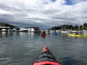 The skies did NOT look promising when we took off. Can't imagine how seasick I'd get weathering a storm in a kayak.