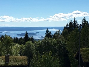 From Frognerseteren's front porch, you can see adorable sod-roofed cabins and the fjord spread out below.