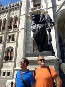 Can you tell Matthew and his cousin Dave have common ancestral roots? Here, they're posing like the proud Hungarian lions they imagine themselves to be, in front of Parliament.