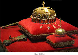 "According to legend, Pope Sylvester II sent this crown to St. István on Christmas day, 1000 A.D. It's a little battered and sports a bent cross on top, courtesy of having been modified, fought over, stolen, lost, found, and even stored for a time at Fort Knox in Kentucky (my home state). It stayed there ""for safety"" from the end of WWII through 1978, when Jimmy Carter gave it back to Hungary."