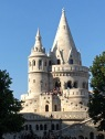The Fisherman's Bastion -- another confection constructed for the 1896 millennial celebrations -- reminds me of Disney's castle. The pointy turrets are meant to resemble Magyar tents; there are seven in total, reflecting the number of Magyar tribes that settled in Hungary. It's called Fisherman's Bastion because in Medieval times, the fishermen were tasked with defending this spot along the ramparts, since their fish market sat just below, along the Danube.