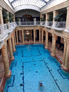 The Gellért's colonnaded, cool-water lap pool looks like an ancient Roman bath.