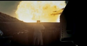 Gun #1 erupts in the film Kongen's Nei.
