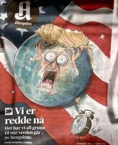 "Norway's Aftenposten Newspaper headline reads: ""We're afraid now. We have every reason, when the world goes crazy."""