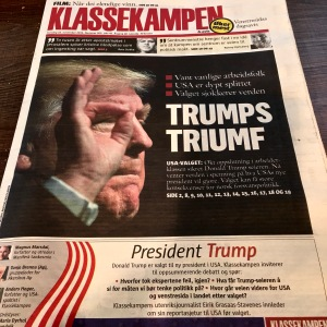 "The Class Struggle says: ""*The US's choice * The US is deeply divided * The election shocks the world. Oct. support in dealing secured Donald Trump's victory. Now the world anxiously awaits what the new U.S. will do. The choice could have major consequences for Norwegian defense policy."""