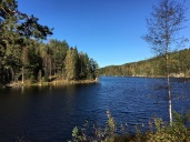 A dam cinches the 7-km (4.3 mi)-long North Elvåga Lake into two sections. The smaller section is used for fishing, boating, and swimming, while the larger section feeds into South Elvåga Lake, both of which are reserved for drinking water.