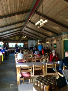 Check out the cozy interior of Mariholtet Sportsstue, complete with a table full of local honey for sale.