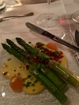 Our meal began with an appetizer of Asparagus Hollandaise -- yum!