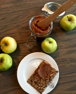 "My granny's apple butter has gone native, being made of Norwegian apples spread on Knekkebrød (literally translated as ""Break Bread"" -- think cracker made mostly of seeds, mmmm)."