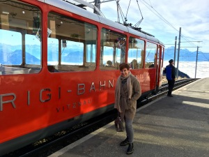 I'm standing in front of the Vitznau-Rigi-Bahn. The first mountain railway in Europe, it started operation on May 21, 1871.